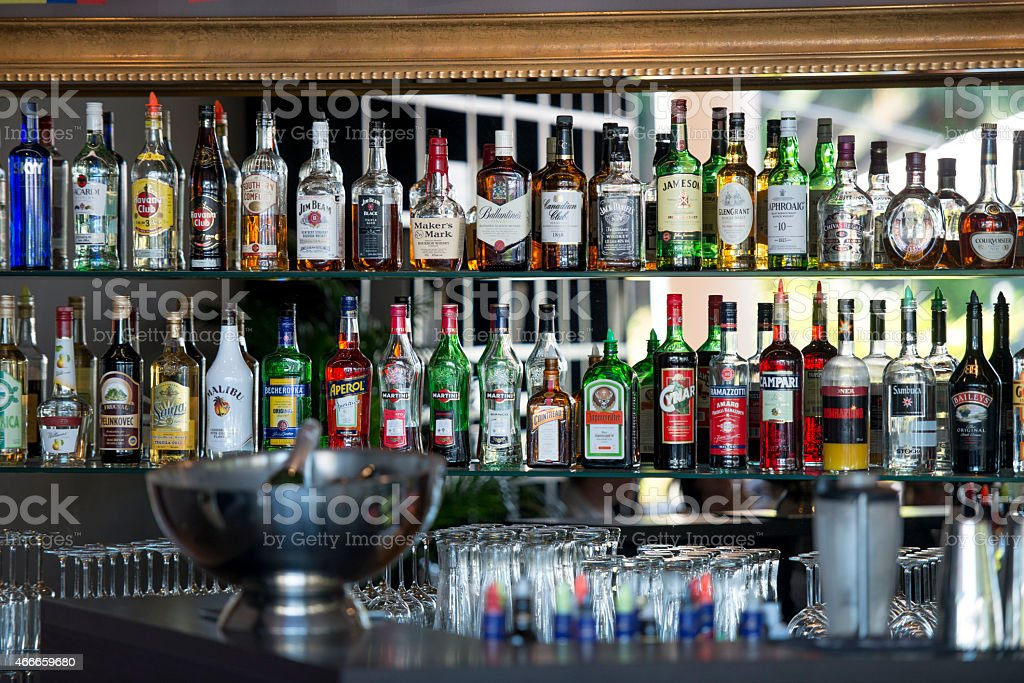 Alcohol Bottles in a Bar stock photo