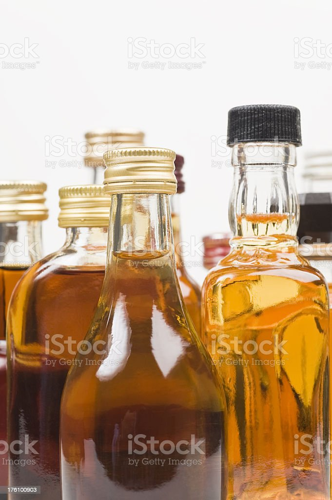 Alcohol bottles stock photo