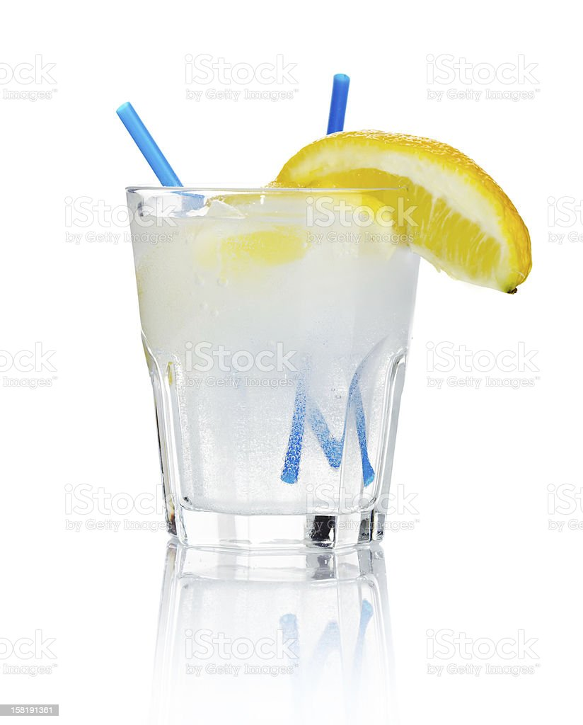 Alcohol cocktail 'gin tonic' isolated on white royalty-free stock photo