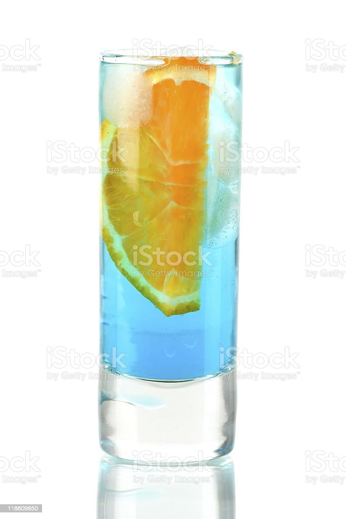 Alcohol cocktail with blue curacao and orange royalty-free stock photo