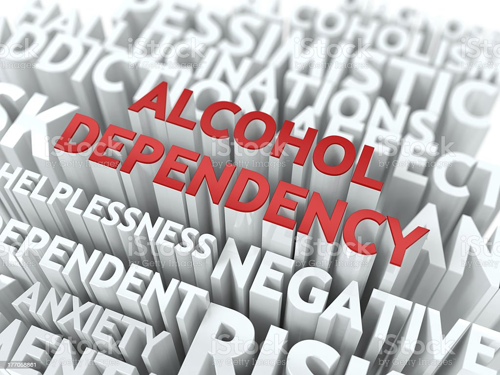 Alcohol Dependency. The Wordcloud Concept. royalty-free stock photo