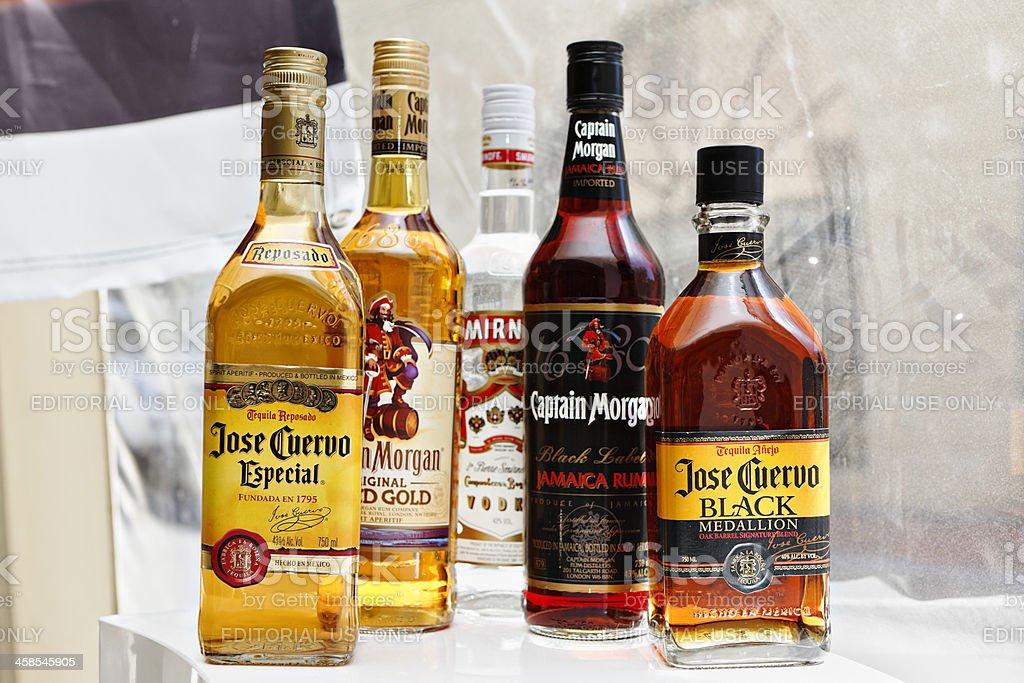 Alcohol display bottles stock photo