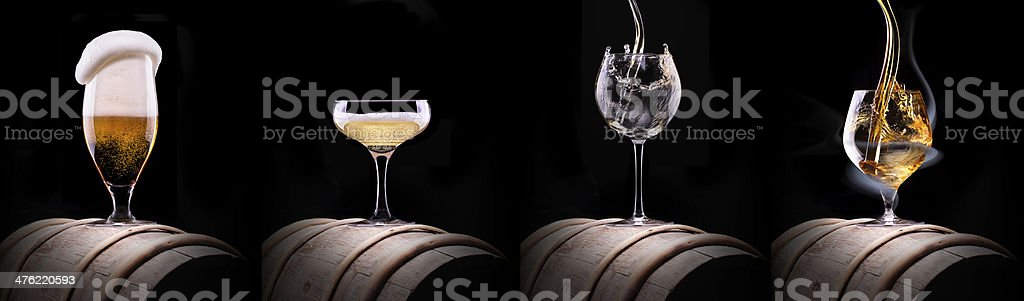 alcohol drinks set isolated on a black royalty-free stock photo