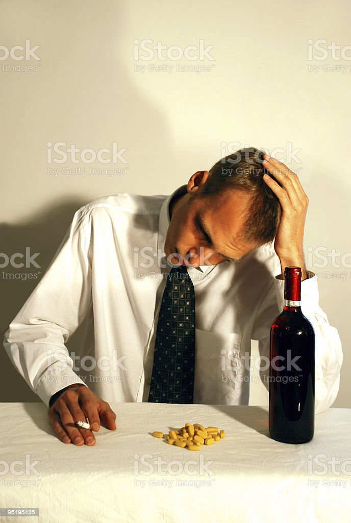 alcohol, drugs and depression stock photo