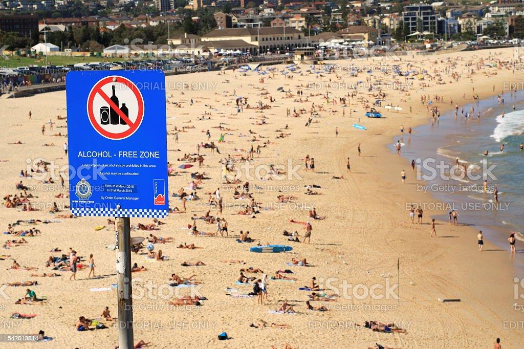 Alcohol free zone Bondi Beach Sydney Australia stock photo