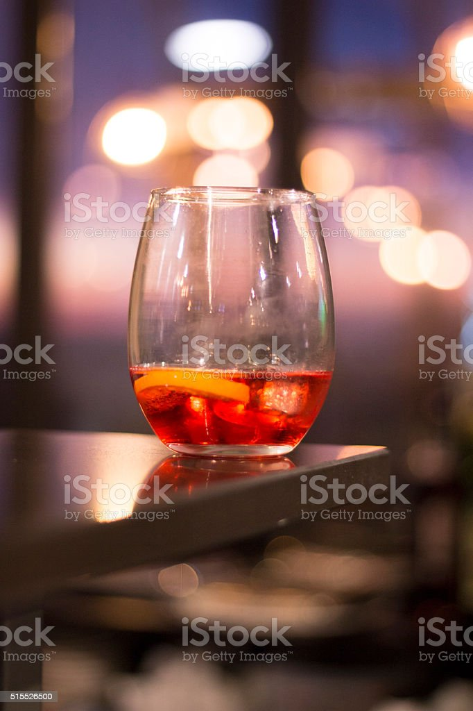 Alcohol glass in Ibiza bar nightclub stock photo