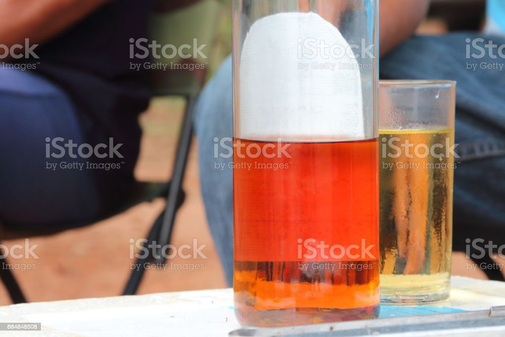 Alcohol placed on the table stock photo