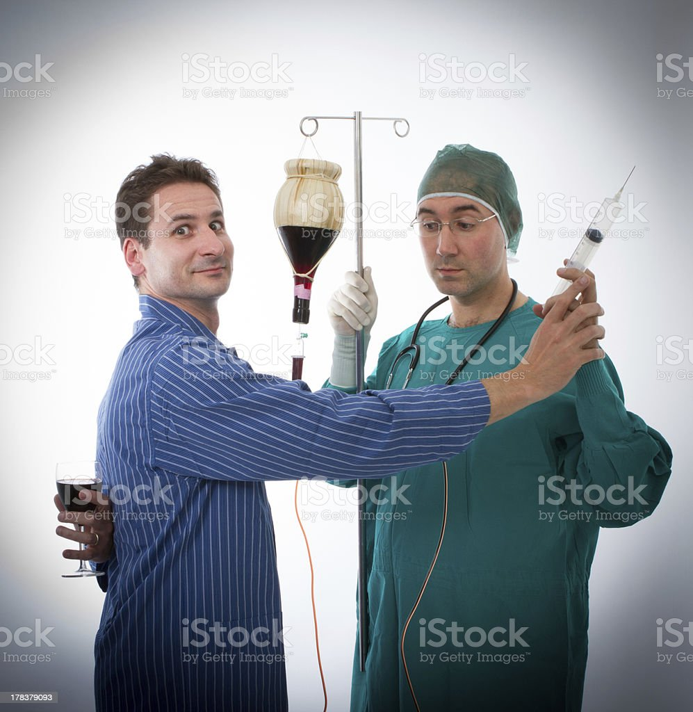 alcohol problems in a bizarre doctor portrait royalty-free stock photo