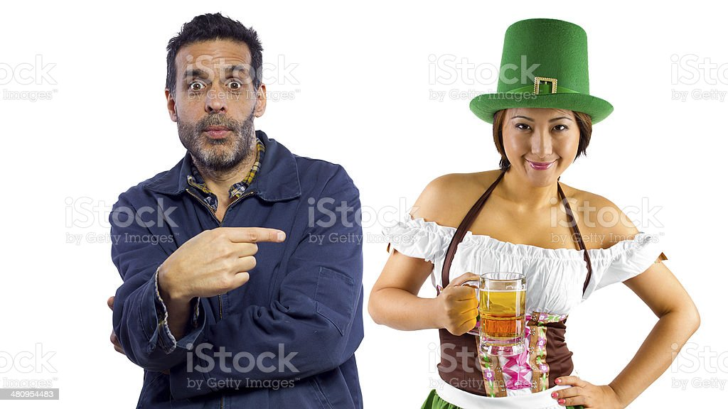 Alcohol Temptations By A Sexy Waitress on Saint Patricks Day stock photo
