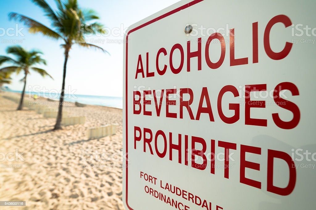 Alcoholic Beverages Prohibition Sign at Beach stock photo