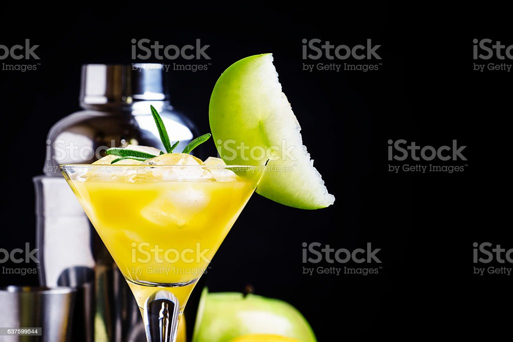 Alcoholic cocktail apple with dry vermouth stock photo