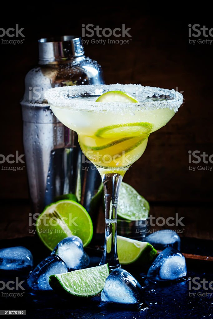 Alcoholic cocktail daiquiri with white rum stock photo