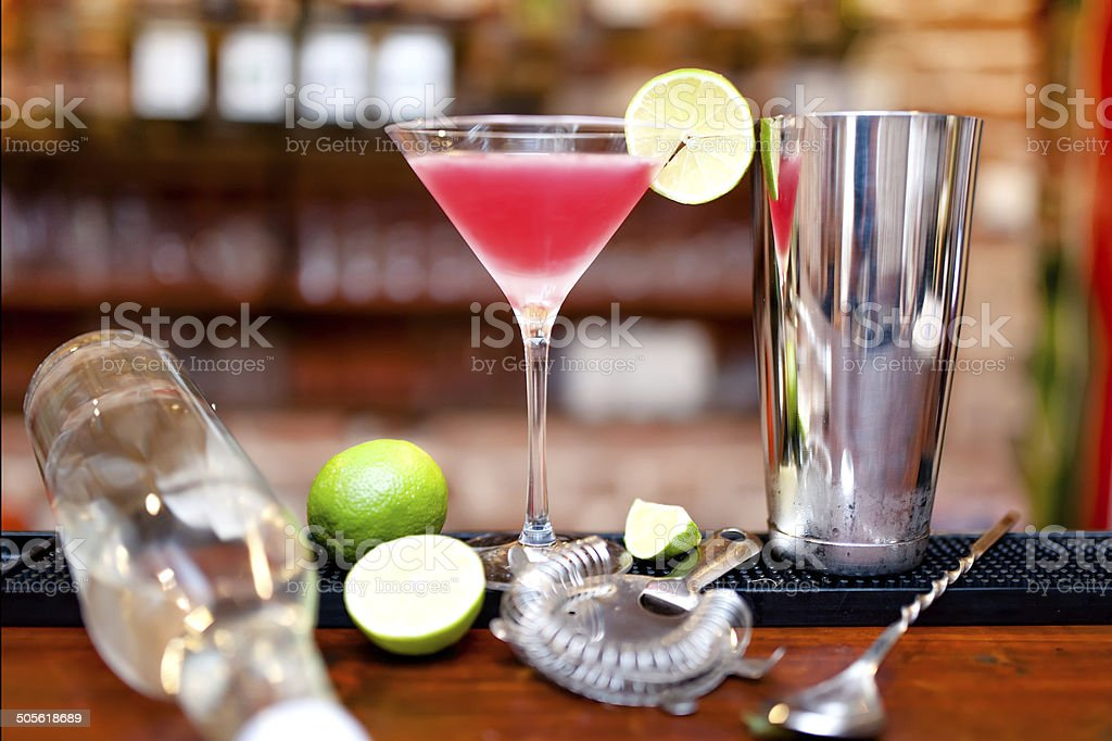 alcoholic cocktail drink with vodka and triple sec on counter stock photo