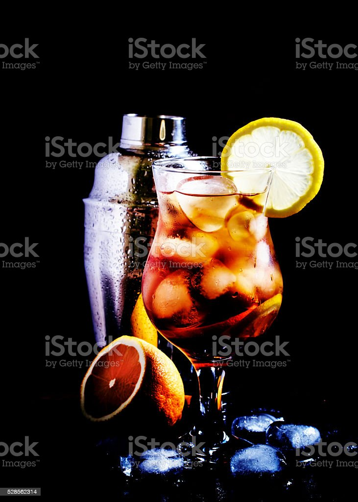 Alcoholic cocktail Long Island with vodka, gin, tequila silver stock photo