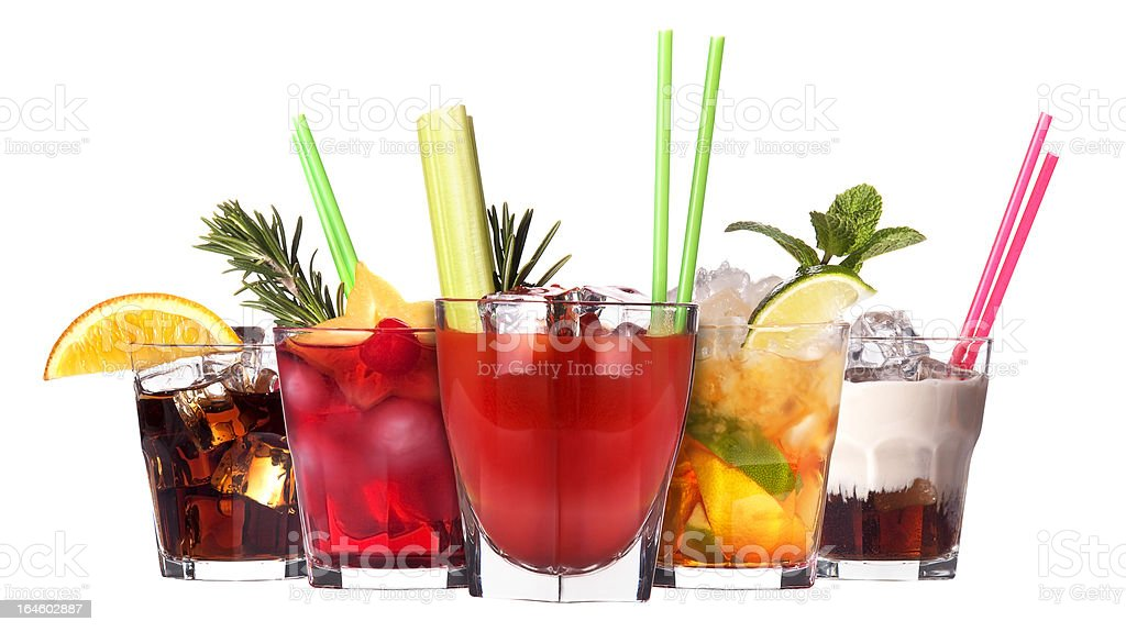 alcoholic cocktail set stock photo