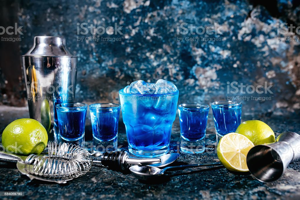 Alcoholic cocktails and garnish served cold at bar stock photo