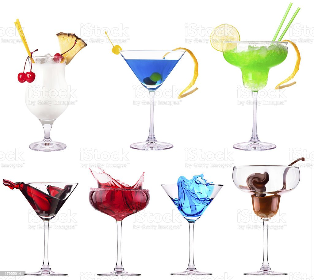 alcoholic cocktails set royalty-free stock photo