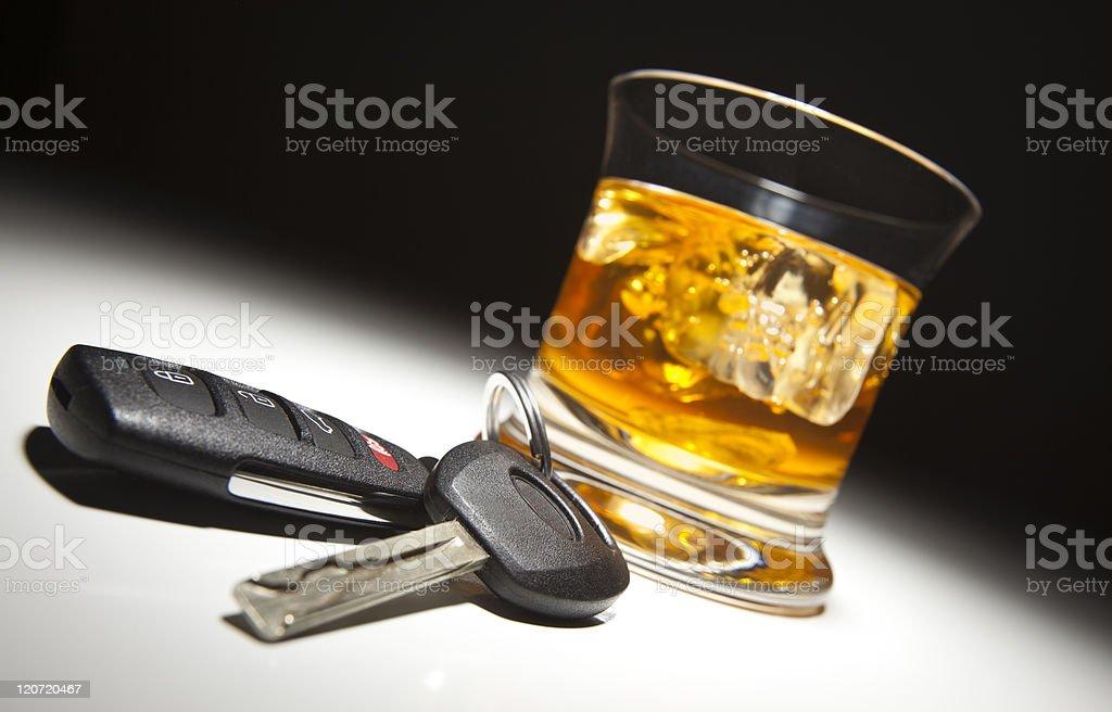 Alcoholic Drink and Car Keys stock photo