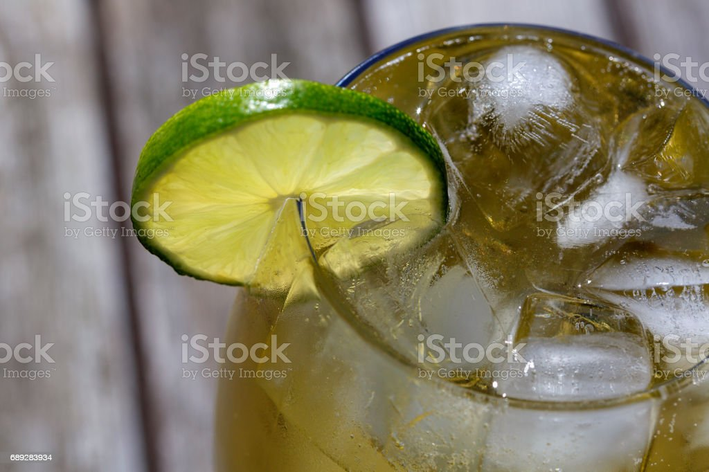 Alcoholic Drink with Lime stock photo