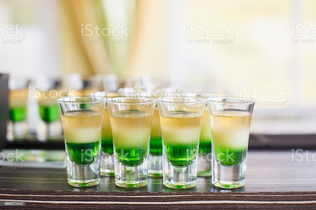 alcoholic drinks and beverages on wedding reception stock photo