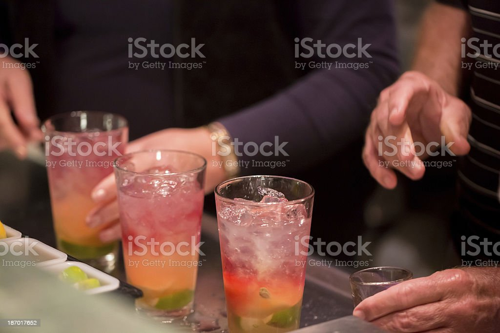 alcoholic drinks at a holiday party on New year's Eve royalty-free stock photo