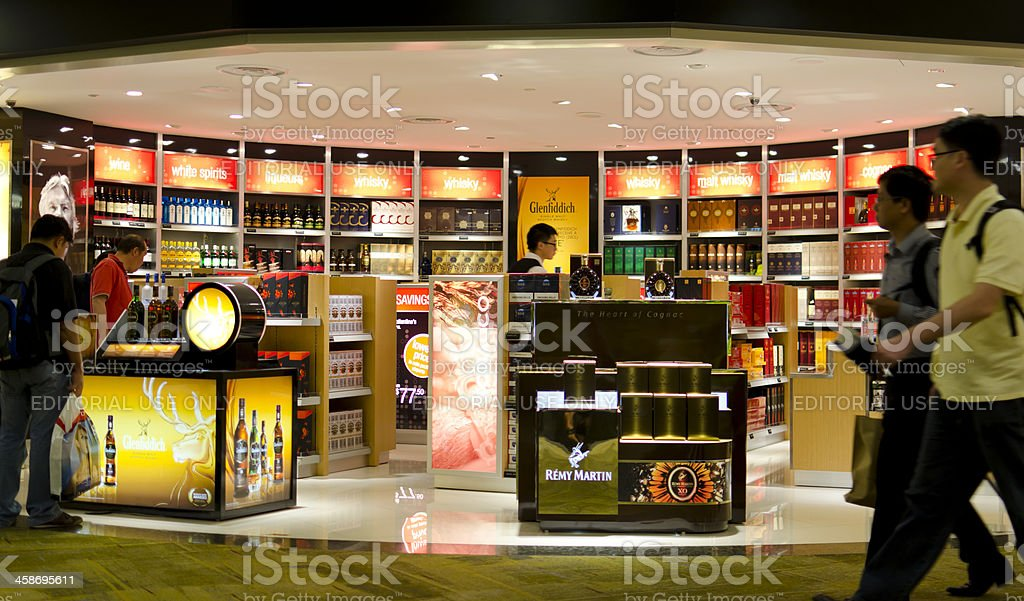 Alcoholic drinks duty free shop in Singapore Airport stock photo