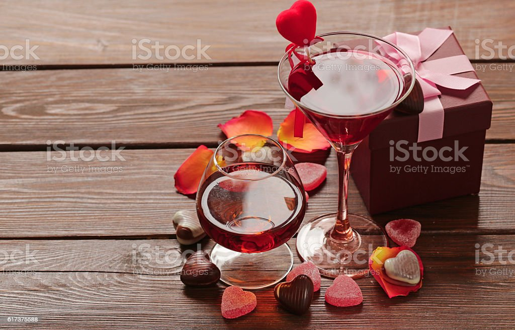Alcoholic drinks for the festive party. stock photo