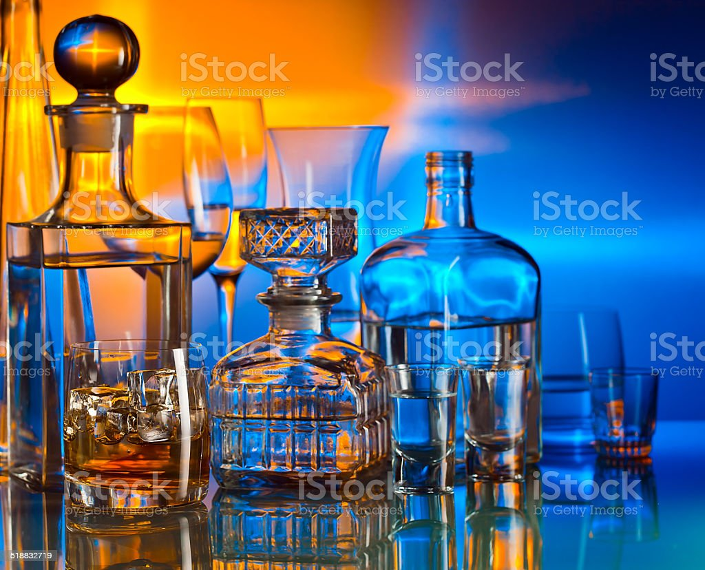 alcoholic drinks in bar stock photo