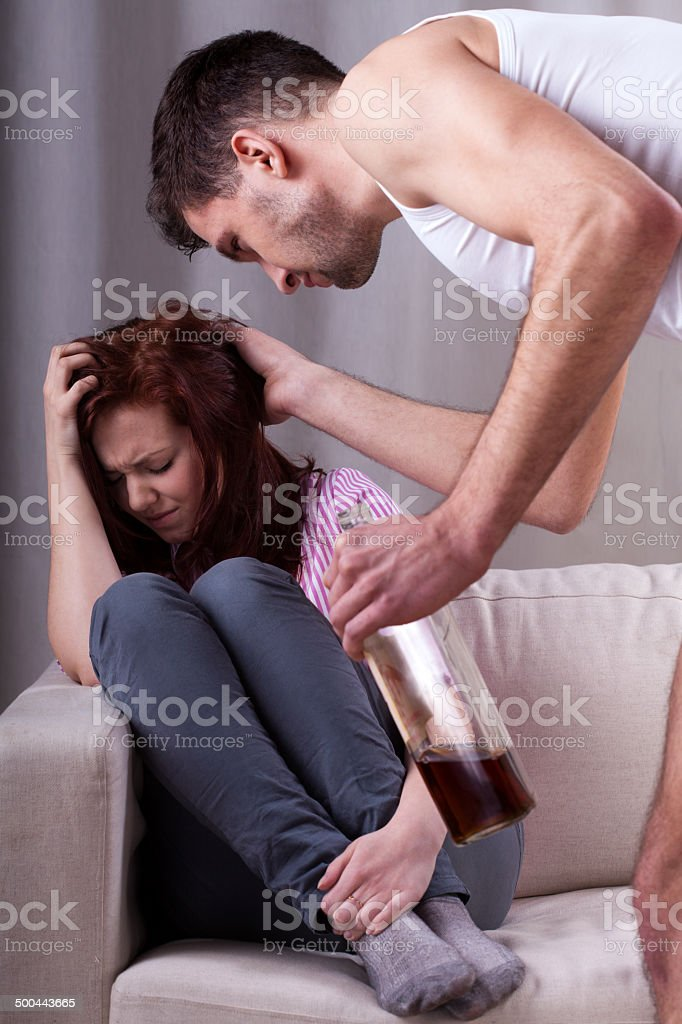 Alcoholic problems at home stock photo