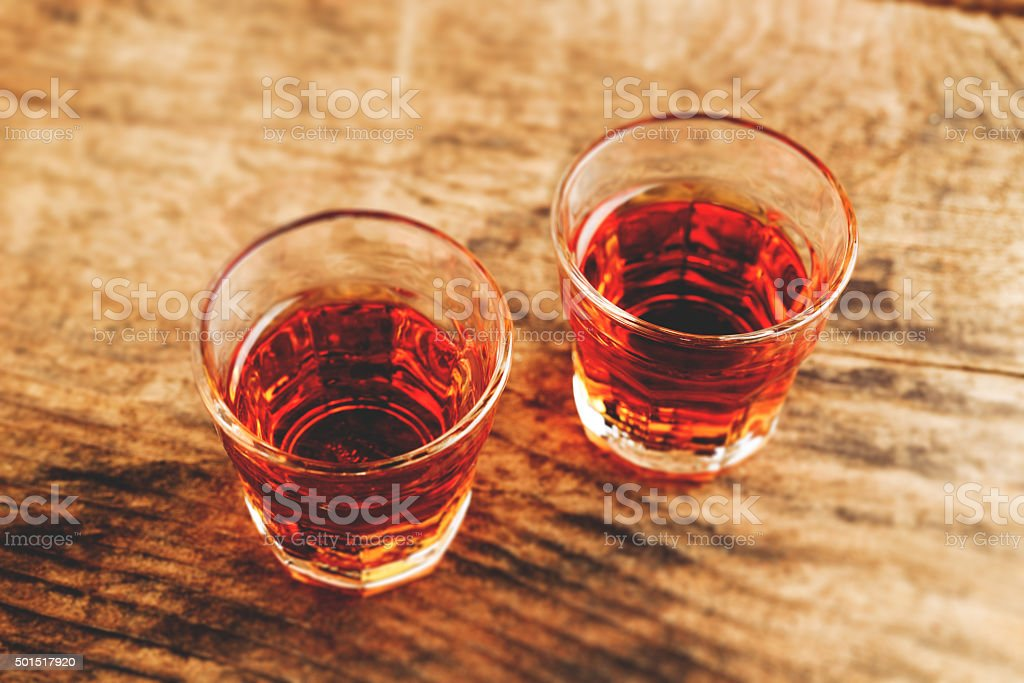 alcoholic shot - tilt shift selective focus effect photo stock photo