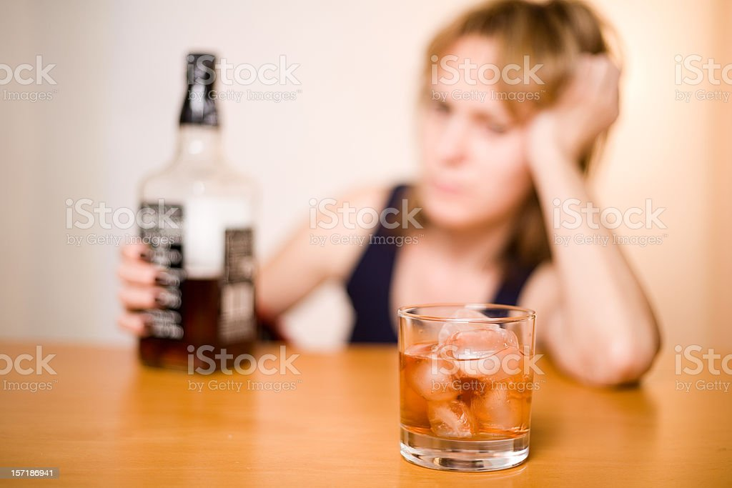 Alcoholism among women royalty-free stock photo