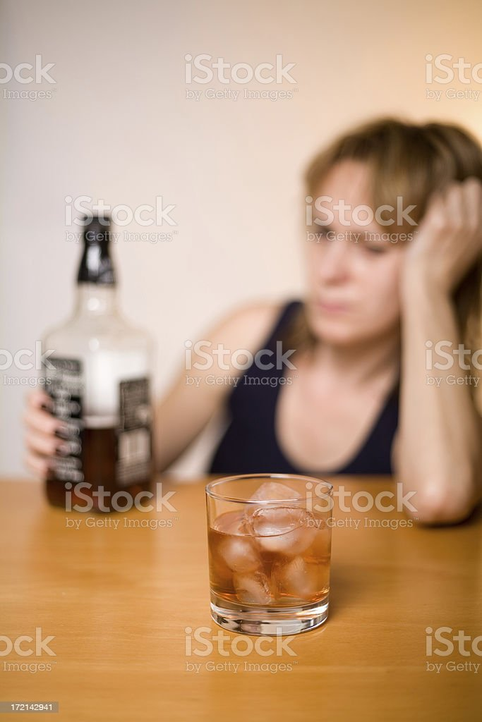 Alcoholism and women royalty-free stock photo