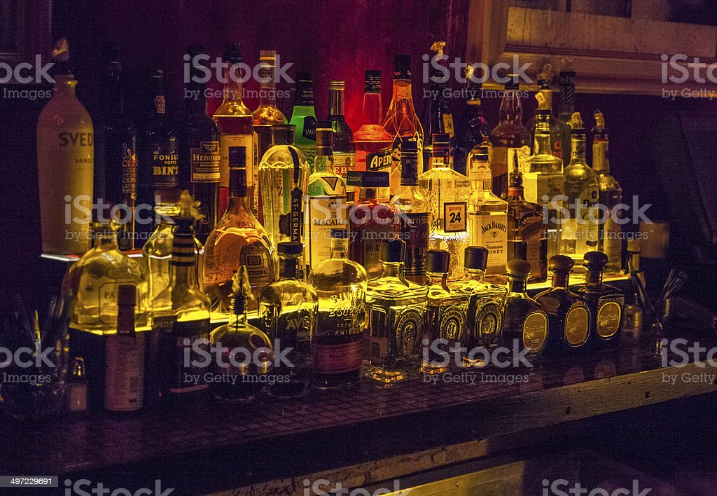 Alcolohic bewerages in the bar stock photo