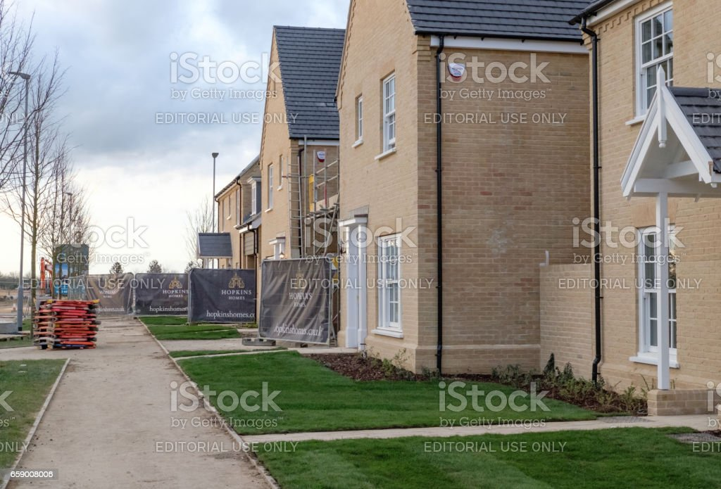 Alconbury, Cambridgeshire UK - March 14 2017: Detailed view of a new housing development, located on a once RAF base within the United Kingdom. stock photo
