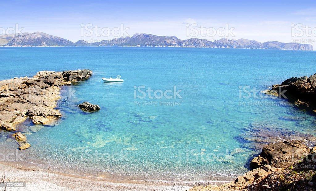 Alcudia in Mallorca la Victoria turquoise beach stock photo