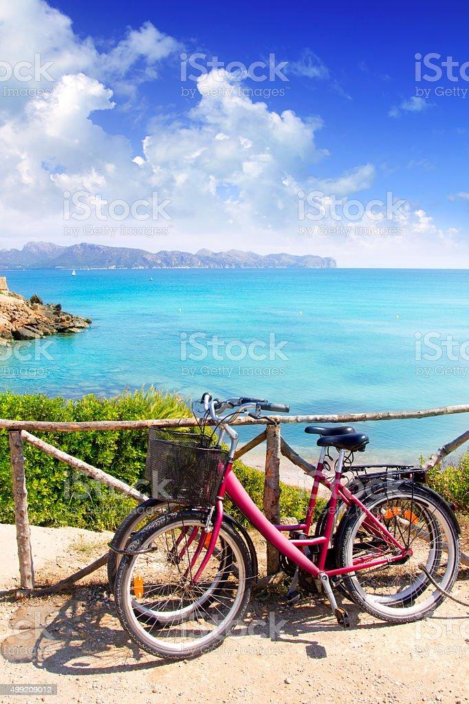 Alcudia Mallorca Playa de S Illot transparent turquoise water stock photo