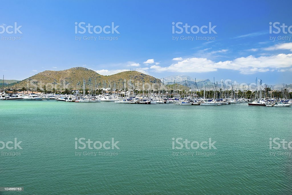 Alcudia with boats in the island of Majorca stock photo