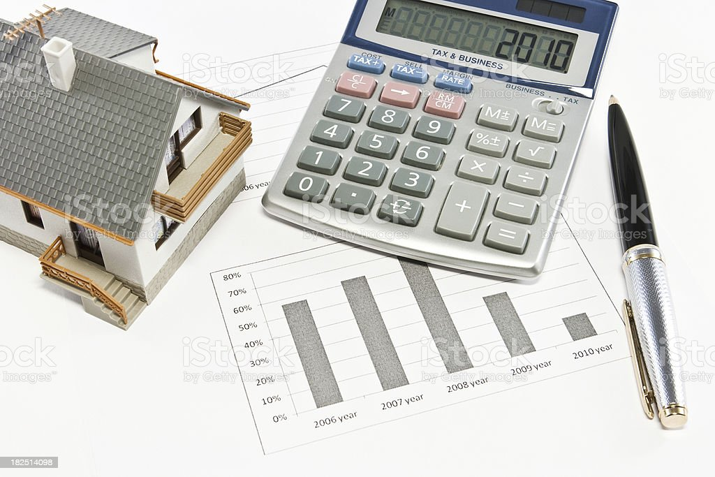Сalculations. House model conception royalty-free stock photo