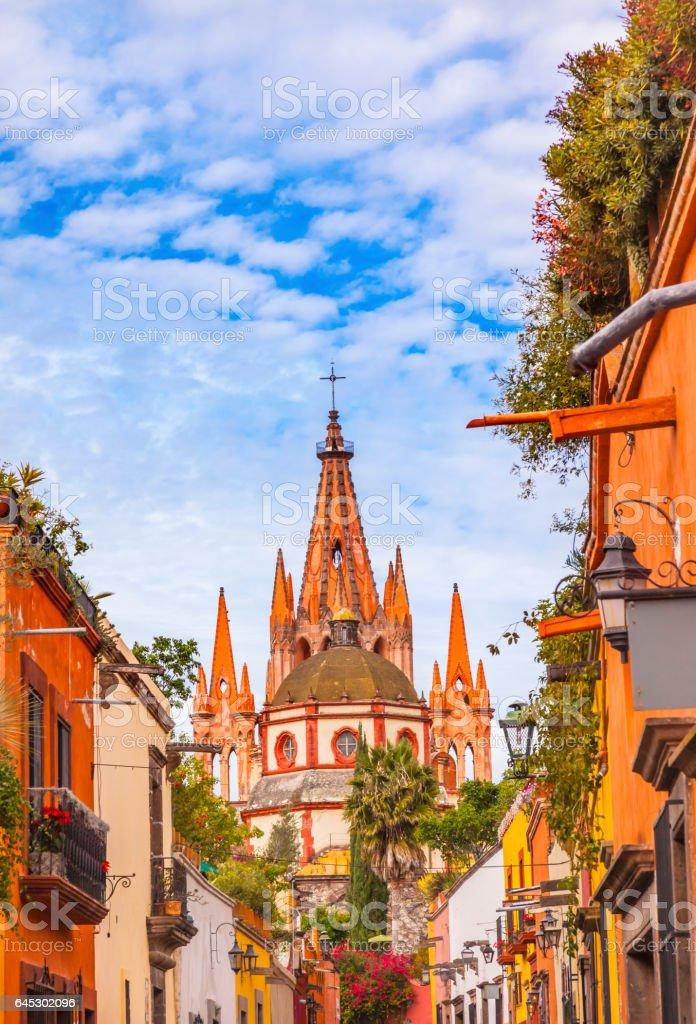 Aldama Street Parroquia Archangel Church San Miguel de Allende Mexico stock photo