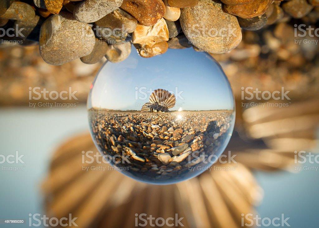 Aldeburgh scallop crystal ball stock photo