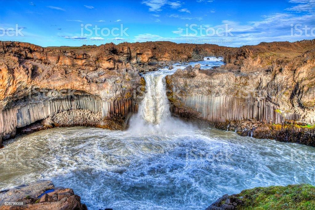 Aldeyjarfoss waterfall stock photo