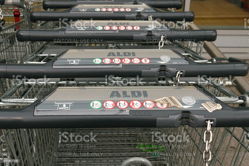 Aldi trolleys stock photo