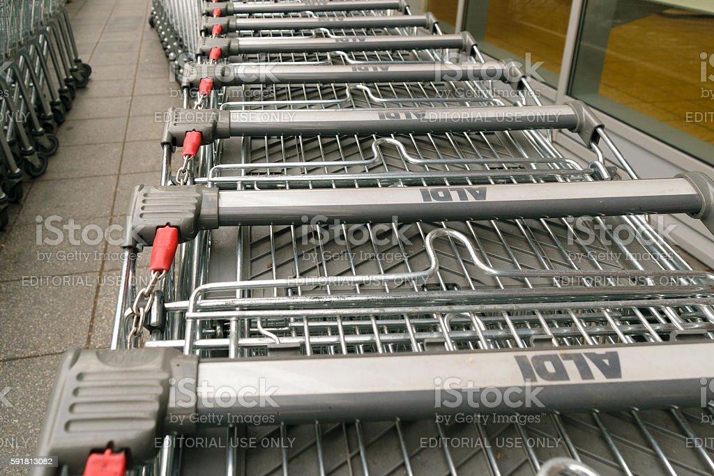 Aldi trolleys row stock photo
