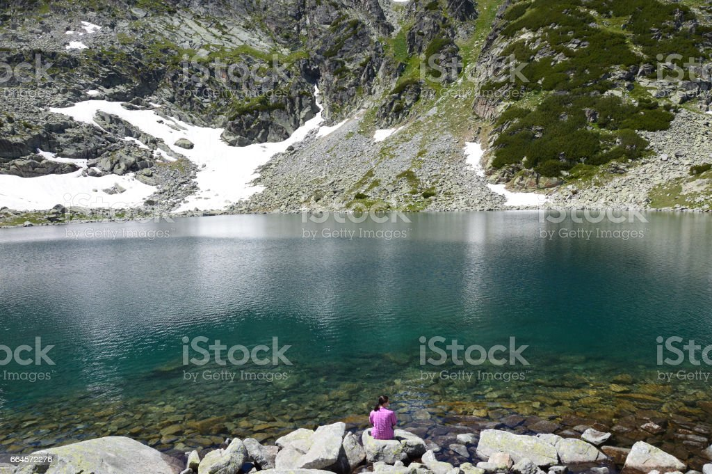 Alekovo lake in Rila Mountains stock photo