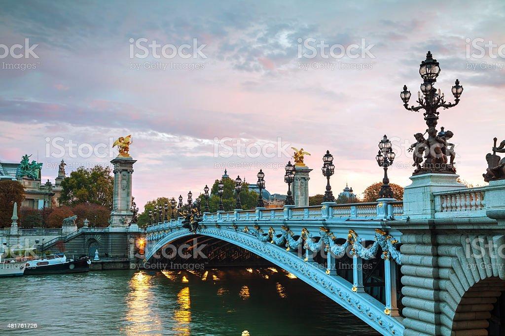 Aleksander III bridge in Paris stock photo
