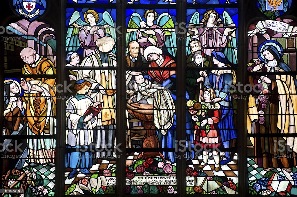 Alencon (Basse-Normandy, France), Stained glass window in the Notre-Dame church stock photo