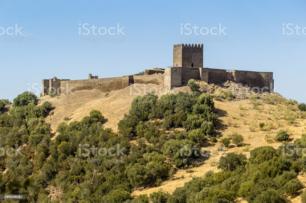 Alentejo countryside landscape scenic view of medieval Noudar castle. stock photo