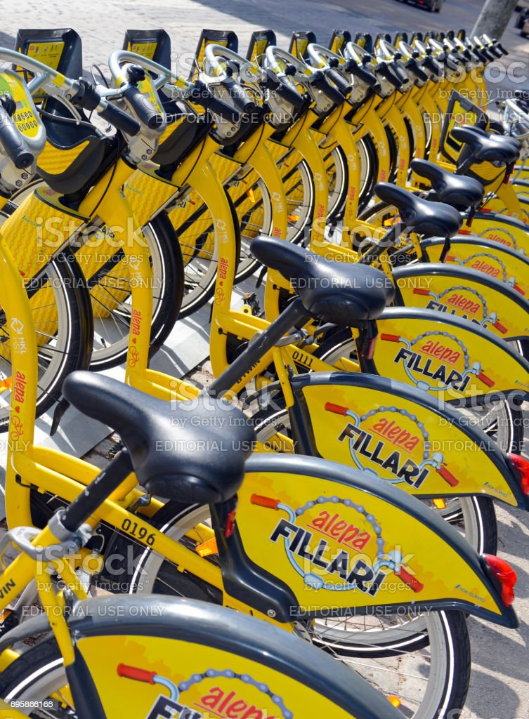 Alepa Bikes is a Bicycle share program in Helsinki giving residents and tourists one more transportation option and reduces the consumption of fossil fuels. stock photo
