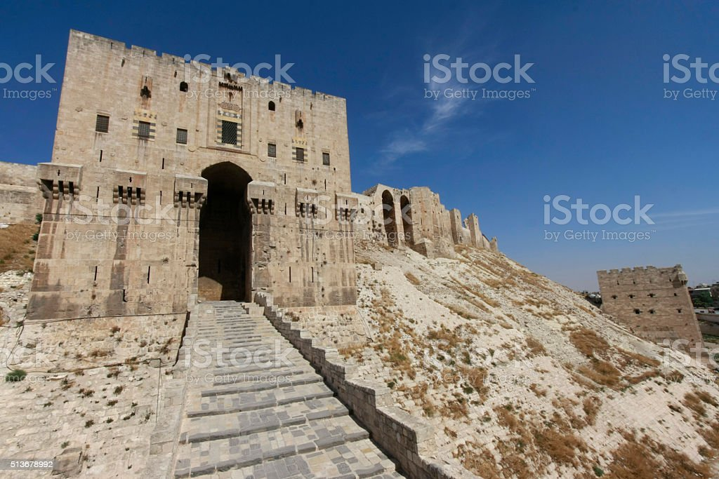 Aleppo Citadel entrance stock photo