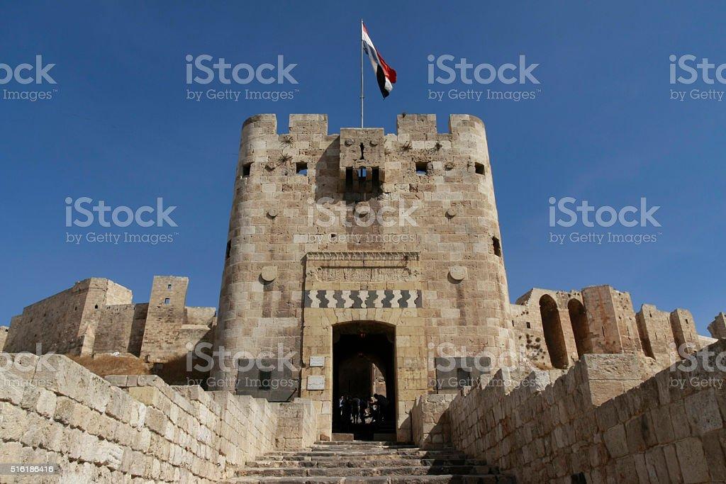 Aleppo Citadel Gate stock photo